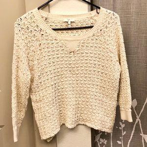 Joie Cropped 3/4 Sleeve Knit/Crochete Top Size S